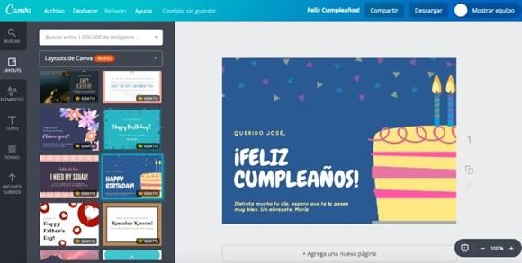 Página web de Canva.
